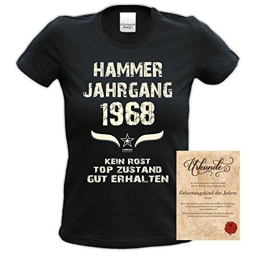 Tshirt Frauen Zum 50. Geburtstag Hammer Jahrgang 1968 Geschenkidee Mode für Damen Farbe: Schwarz Schwarz