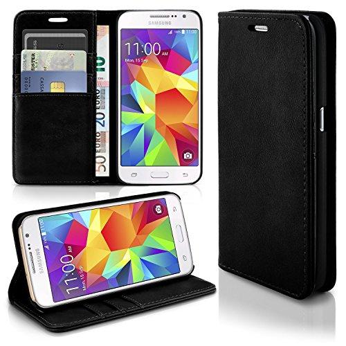 Caso casual per il Samsung Galaxy Grand Prime | caso conveniente con slot per schede e la funzione del basamento | Sacchetto di protezione di custodia OneFlow | Copertura di vibrazione in Onyx