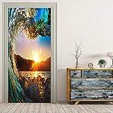 JIAER Riesige Welle Wandbilder Wandaufkleber Tür Aufkleber Tapete Decals Dekoration