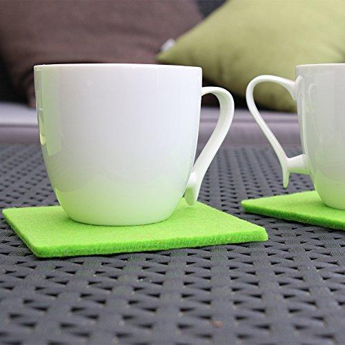 Filzuntersetzer Filzius® 8er Set in verschiedenen Farben – hochwertiges Recycling Filz – viereckig – quadratisch – Getränkeuntersetzer – Untersetzer für Gläser und Tassen – hellgrau