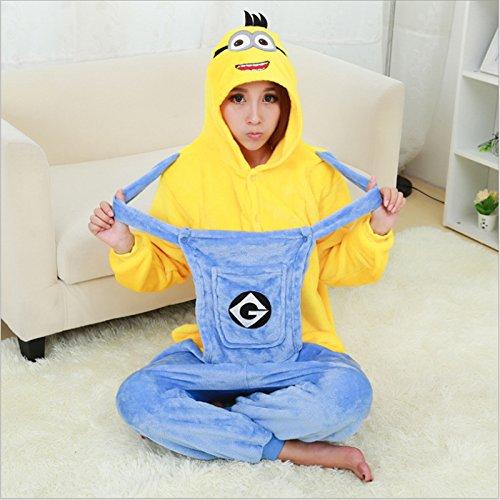 Einhorn Schlafanzüge sets Frauen Flanell Tier Schlafanzug Kits für Nachtwäsche Winter Night - Anzug set Schlafanzug, Minion gelb blau, S (Minion Anzug Kind)