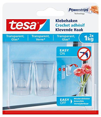 tesa Klebehaken, transparent für z.B. Glas, 1 kg Halteleistung