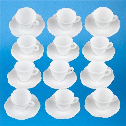 Dollhouse Miniature Set of 12 Cups & Saucers Aztec Cup