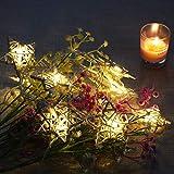 Malayas Guirlande Lumineuse LED Étoiles en Rotin Ivoire 1.75M Chaîne Eclairage pour Intérieure Extérieure Lumières Blanche Chaude à Pile Décoration Noël Fête Mariage