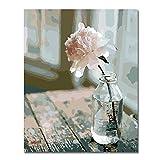 Rihe Holzrahmen Malen nach Zahlen DIY Ölgemälde Rosa Blume in der Flasche Leinwand drucken Wandkunst Haus Dekoration