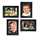 Ajanta Royal Classic set of 4 Individual Photo Frames (4-4x6 Inch) : A-26 Black (Matt Finish)