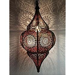 Lámpara Oriental Marroquí - lamparilla colgante - farola de techo Malhan - 50cm - muy práctica para una iluminación excelente - transmite una decoración excelente refinada