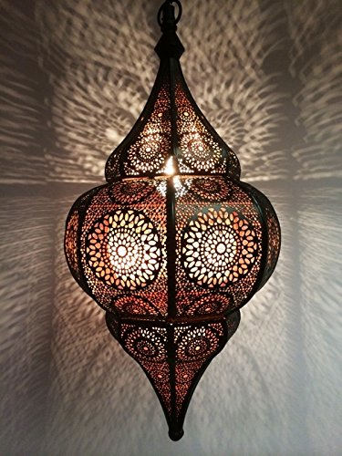Moroccan Lamp Ceiling Lights Malhan 50cm large Black E14 Socket | Oriental style Vintage Pendant Lantern Light | Arabian Home Decor Lighting as Hanging Chandelier for Living Room Bedroom or Kitchen