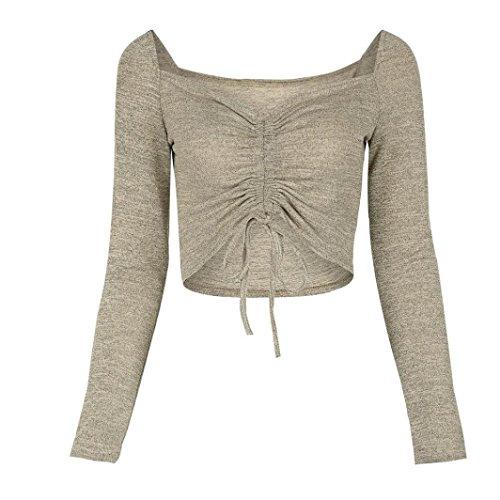 BYSTE Donna Solido Sexy Manica lunga Bandeau Bandage Openwork cappotto Maglietta Camicetta Top Cachi