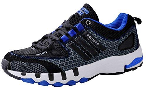 iLoveSIA-Delcord Mens Running Shoes Walking Basketball Footwear Size 9UK 10US 45EUR Black+Blue