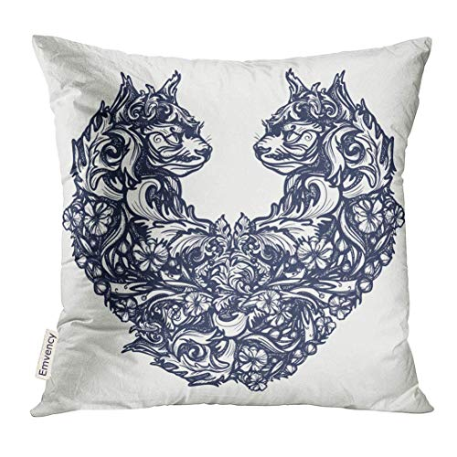 Trsdshorts Throw Pillow Cover Two Cats in The Form of Heart Tattoo and Design Symbol Love Feeling Passion Ornamental Style for Woman Decorative Pillow Case Home Decor Square 18x18 Inches Pillowcase