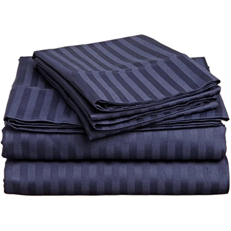 laxlinens Feuille de lit en coton égyptien égyptien égyptien 600 fils Lot de 6 (+ 76,2 cm) Extra profonde poche simple, longue bleu marine à rayures e76cb8