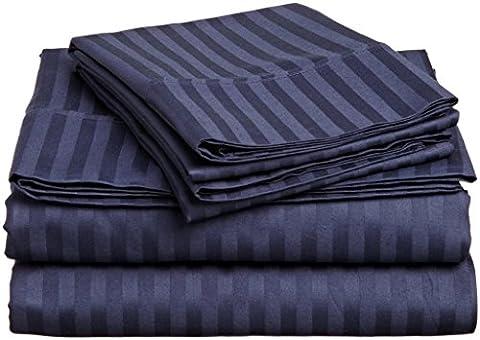 British Choice Linen Egyptian Cotton 600-Thread-Count Sateen Double/Small Double Size 5 PCs Set (1 Duvet Cover Zipper Closer & 4 Pillow Cover), Navy Blue