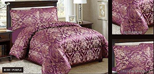 Homes & Deco New Modernes Design Luxus 3Stück Schwere Jacquard Gesteppt Blumen Tagesdecke Tröster–Bettwäsche-Set Ruby Violett, Super King (7 Jacquard-bett Stück)