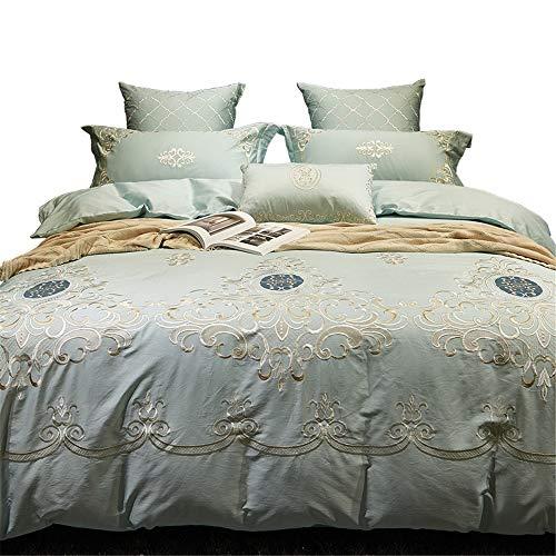 RENYAYA Luxuriöse, Florale, bestickte Bett-Sets Seide Cotton Blend Duvet Cover & Pillowcases Bed Sheet acquard 4/6/7Pcs,6pieceset,220 * 240cm (König Cotton Bed Sheet Sets)
