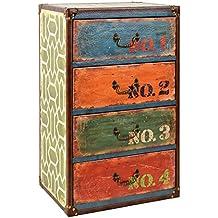 ts-ideen Container estantería cómoda armario de diseño estilo retro piel sintética shabby industrial