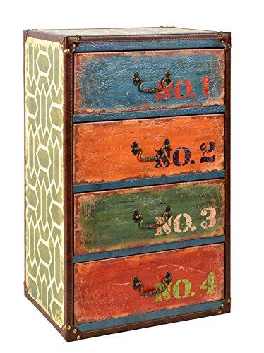 ts-ideen Kommode Regal Schrank Vintage Antik Kunstleder Design Shabby Used Style