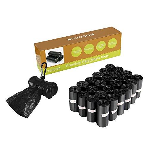 MOGOCO Bolsas biodegradables con dispensador, bolsas de residuos para mascotas ecológicas, 25 rollos (375 unidades)