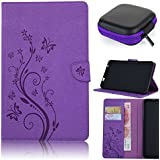 Samsung Galaxy Tab A 10.1 Hülle Case,Samsung Galaxy Tab A 10.1 Leather Wallet Case,Pershoo Elegant Lila Malen mit Schmetterling Muster PU Leather Case Flip Cover in Book Style Wallet Stand Card Slot Protective Case für Samsung Galaxy Tab A (2016) 10.1 Zoll T585N/ T580N with 1 x Earphone Storage Box-Lila