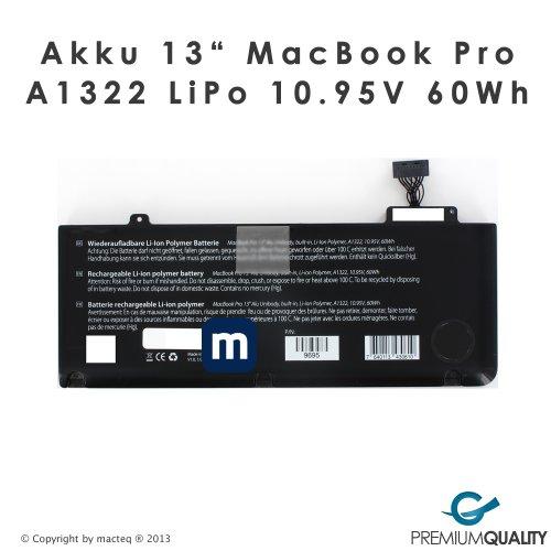 Preisvergleich Produktbild Akku A1322 für MacBook Pro 13 Zoll MB990 & MB991 mid2009 60Wh LiPo 10.95V inklusive OecherWolke.de Gutschein Versand aus Deutschland von macteq