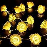 Lerway 22cm 2,2 M Rose Blume 20 LED Lichterkette für Gärten, Rasen, Terrasse, Weihnachts Bäume, Hochzeiten, Partys, Bar, Club, Für drinnen und Outdoor - Warmes Weißes Licht