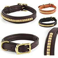 [Gesponsert]Fashion-Line von Pear Tannery: Hundehalsband aus weichem Rindsleder, versehen mit einer Messingverzierung mittig, S 36-46cm, schokoladenbraun