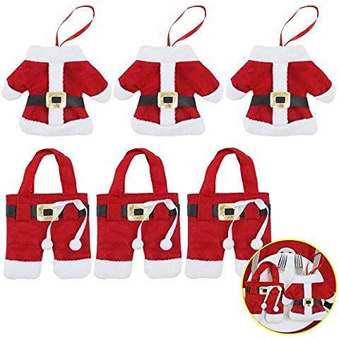 6 Pcs Sacchettini Decorativi Natalizio per Posate,ZXK CO Posate Supporto Decorazioni di Natale Babbo-3 Vestiti+3 Pantaloni