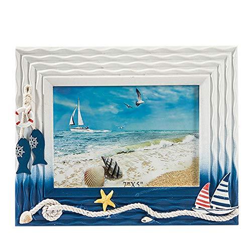 CHENGJIUWEILAI Persönlichkeit Massivholz Fotorahmen Meer Sommer Muschel Mediterran Freistehend An Der Wand Befestigt Rahmen 5X7 Zoll,B