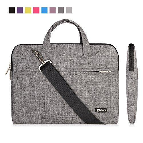 Qishare 13.3-14 Zoll Laptoptasche, multifunktionale Polyester Laptoptasche, Verstellbarer Schultergurt & unterdrückter Griff (13.3-14 Zoll, graue Linien)