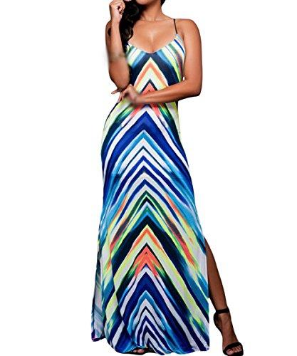 Dissa S1161245 femme Sexy Maxi Robe Longue Bleu