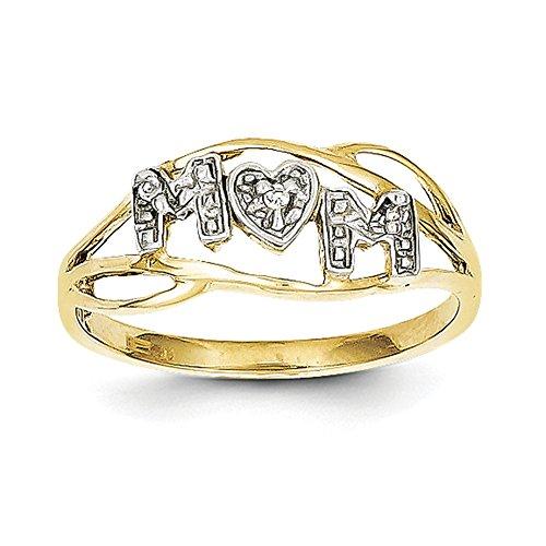 10K Gelb Gold w/Rhodium Mom lagig Ring 10C1221Größe 7 (Größe 10 Ringe Mom)