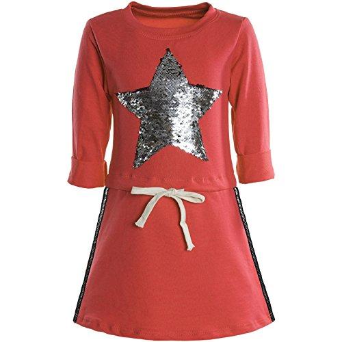Kostüm Sie Elsa Lassen Gehen Es - BEZLIT Mädchen Kleider Spitze Wende-Pailletten Fest Langarm Kleid 21041 Orange Größe 152