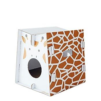 Mobilier de jeu et couchage pour chat design avec griffoir intégré (giraffe)