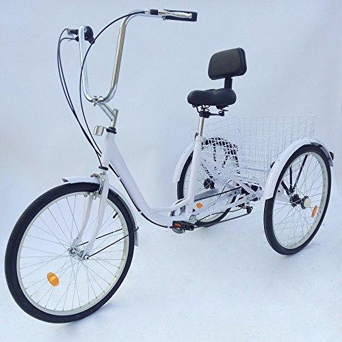 RANZIX 3-Rad Dreirad Für Erwachsene 24 Zoll 6 Geschwindigkeit 3 Rad Fahrrad Dreirad Pedal mit Warenkorb (Weiß)
