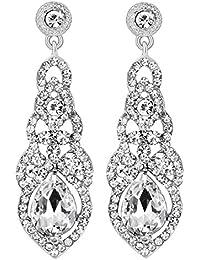 bf93c111ac68 Mondora - Pendientes de boda con forma de lágrima de cristal austriaco