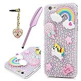 MOTIKO iPhone 6Coque, Licorne Rose Fait à la Main Bling Perles de Cristal Clair PC...