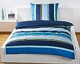 Bassetti Bettwäsche blau gestreift, Bettwäsche Set, Bettbezug 135 x 200 cm, feinstes Baumwoll-Satin, mit Reißverschluss, Menge: 1 Stück