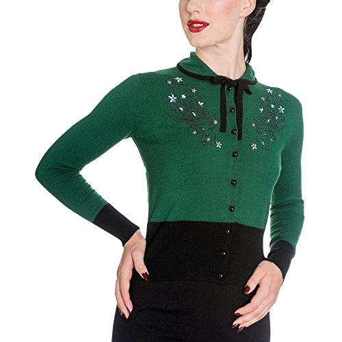 Maglia Cardigan Rockabilly anni 50 articolo di marca Hellbunny verde nero - L