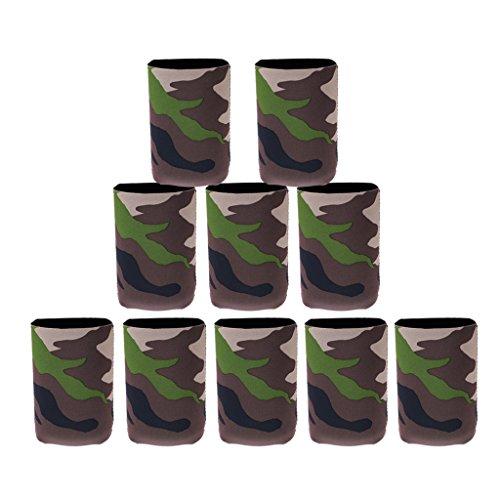 Phenovo Flaschenkühler / Dosenkühler aus Neopren, Tarnung Muster, 10PCS, für Flaschen