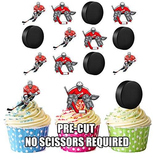 vorgeschnittenen Eishockey Spieler & Puck Mix-Essbare Cupcake Topper/Kuchen Dekorationen (12Stück)
