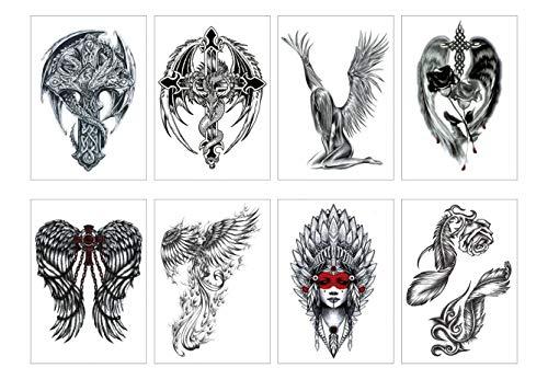 Pamo 8 sheets mix angel wings tatuaggio adesivo per donne impermeabile croce piuma tatuaggio temporaneo adesivo body art fake tattoo