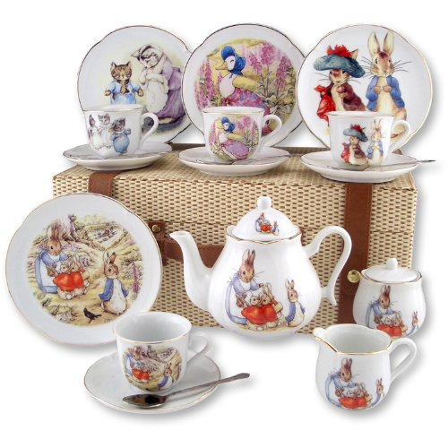 Beatrix Potter Large Peter Rabbit Tea Set in Case by Reutter Porcelain