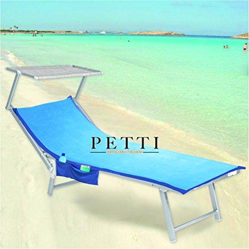 Petti, artigiani italiani telo mare microfibra, telo lettino con elastici, tasche (celeste/blu)