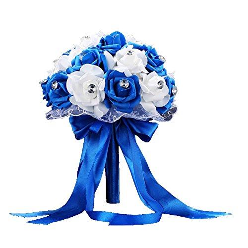 Lucky wedding bouquet per sposa artificiale fiore nastro decor, blu