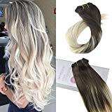 Moresoo 18 Pouces/45cm Remy Balayage Couleur Clip in Extension de Cheveux Naturel 7 Tissage Chatain Tres Fonce 2# a Blond Platine #60 Extension a Clip Naturel Meche Raides 120g