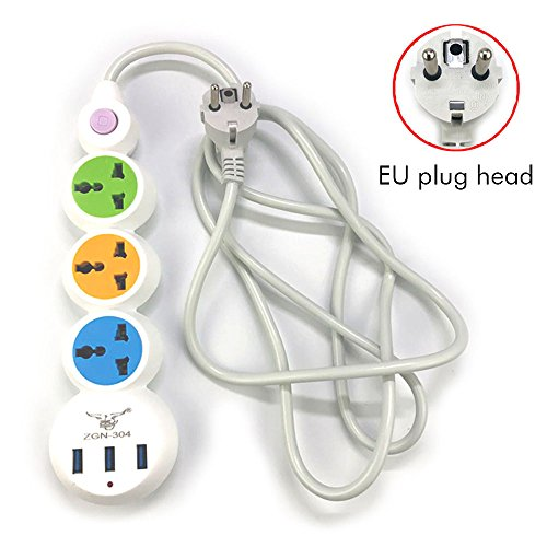 EU regleta mesa Conector Toma de corriente múltiple Cable alargador 3 conector 3 puertos USB Enchufe varios enchufe de tensión con control de lámpara 2 m Cable 2500 W/10 A Blanco PC Fuego fija Shell para TV, ordenador, tablet, iPhone