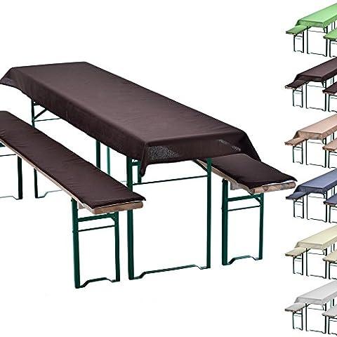 Uni-set de braserie set de 3 nappe pour table de braserie + 2 coussins d'assise matelassés - choix des couleurs & dimensions, Couleur:Marron, Taille:240 x 90 cm