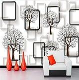 Cczxfcc Schwarz-Weiß-Karierte Wandbild Großen Baum 3D-Tapete Wohnzimmer Balkon Büro Lounge Hintergrund Wand Wandgemälden-200Cmx140Cm