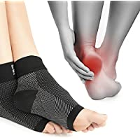 Plantar Fasciitis Foot Care Compression Socks Sleeve with Arch & Ankle Support (Dotted Black, Small/Medium UK Size 4-7 | 2 Pack)