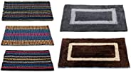 """Story@Home Handicraft Style Eco Series 2 Piece Cotton Blend Door Mat - 16""""x24"""", Grey and Brown &"""